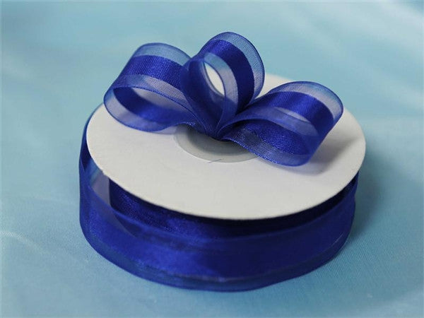 "7/8"" Organza Satin Center-Royal Blue"