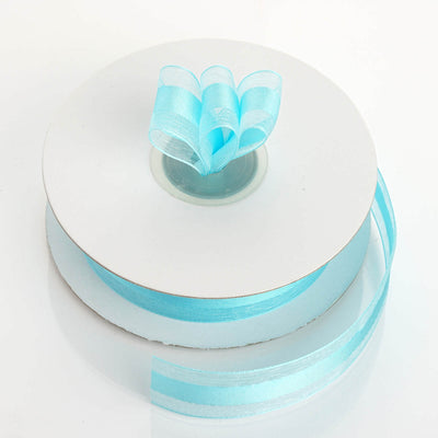 "7/8"" x 25 Yards Organza Ribbon With Satin Center - Turquoise"