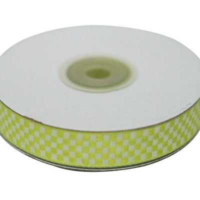 "Checkered Ribbons Gingham 5/8"" x 25yrds per roll-Green"