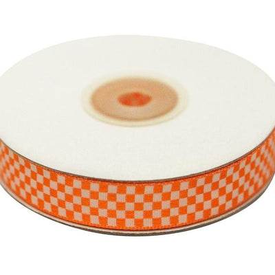 "Checkered Ribbons Gingham 5/8"" x 25yrds per roll-Orange"
