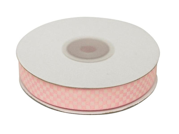 "Checkered Ribbons Gingham 5/8"" x 25yrds per roll-Pink"