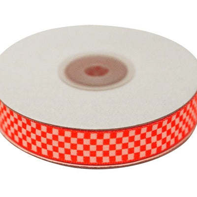 "Checkered Ribbons Gingham 5/8"" x 25yrds per roll-Red"