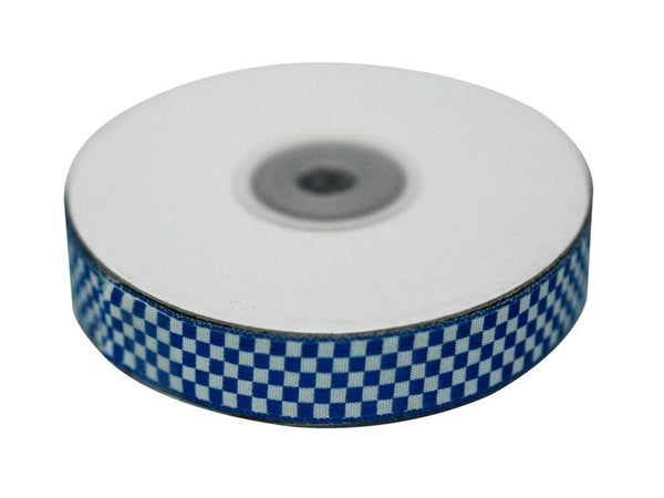 "Checkered Ribbons Gingham 5/8"" x 25yrds per roll-Royal Blue"