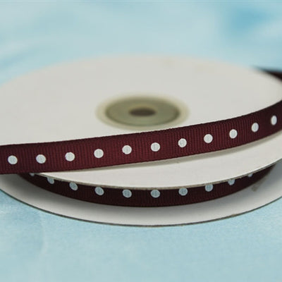 "3/8"" Grosgrain Polka Dot - Burgundy"