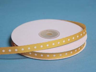 "3/8"" Grosgrain Polka Dot -Gold"