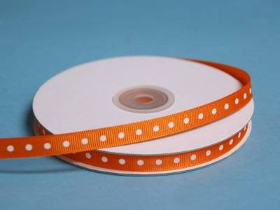 "3/8"" Grosgrain Polka Dot -Coral Orange"