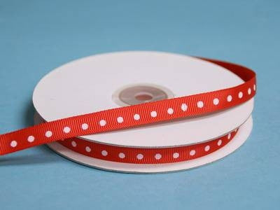 "3/8"" Grosgrain Polka Dot -Red"