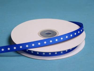 "3/8"" Grosgrain Polka Dot -Royal Blue"