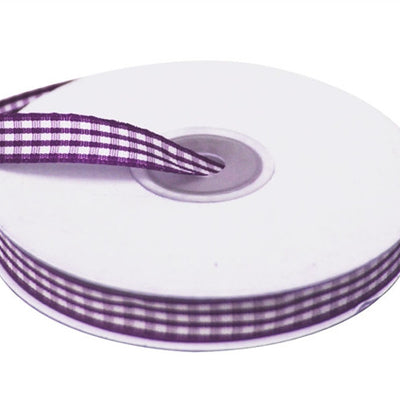 "FASHION RIBBONS Gingham 3/8"" x 25yrds per roll Eggplant"