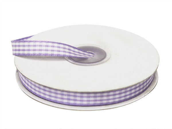 "FASHION RIBBONS Gingham 3/8"" x 25yrds per roll Lavender"