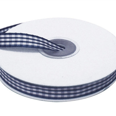 "FASHION RIBBONS Gingham 3/8"" x 25yrds per roll Navy"