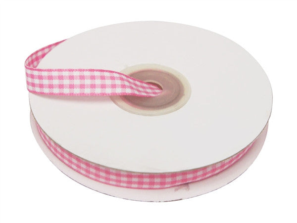 "FASHION RIBBONS Gingham 3/8"" x 25yrds per roll Pink"