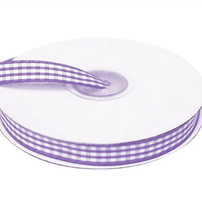"FASHION RIBBONS Gingham 3/8"" x 25yrds per roll Purple"