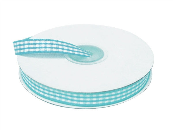 "FASHION RIBBONS Gingham 3/8"" x 25yrds per roll Turquoise"
