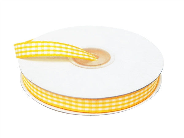 "FASHION RIBBONS Gingham 3/8"" x 25yrds per roll Yellow"