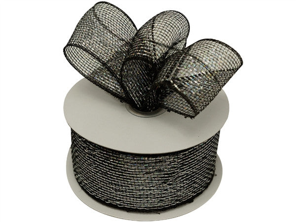 "What a MESH! 2.5"" x 25yards Shiny Ribbons Black"