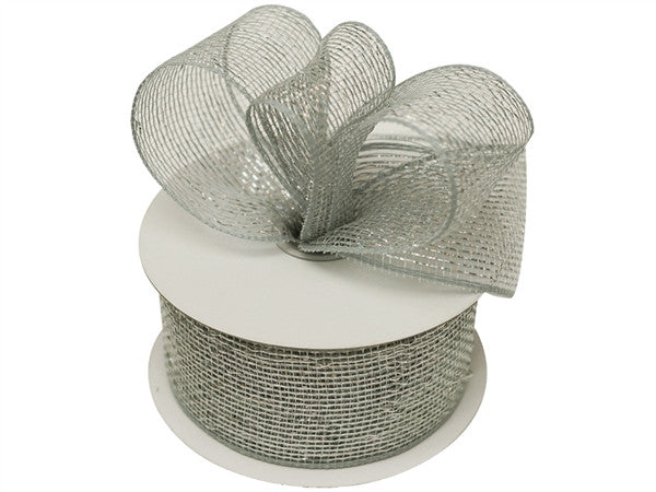 "What a MESH! 2.5"" x 25yards Shiny Ribbons Silver"