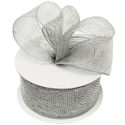 "What a MESH! 2.5"" x 25yards Shiny Ribbons White"