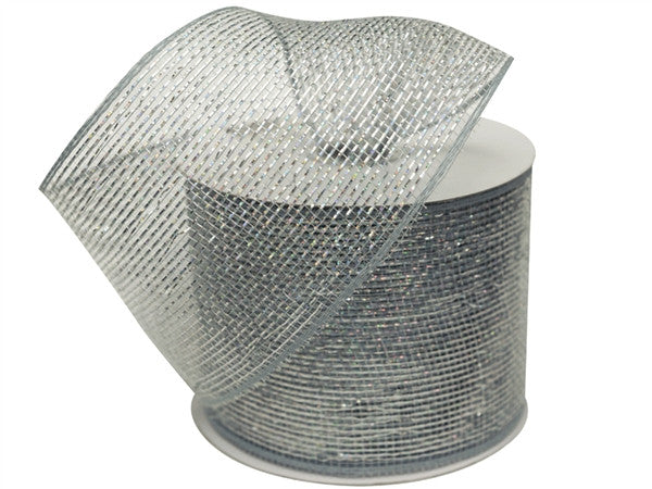"What a MESH! 4"" x 25yards Shiny Ribbons Silver"