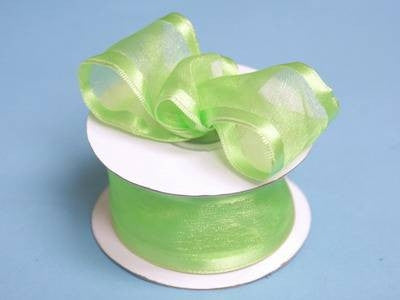 "10 Yards 1.5"" DIY Apple Green Organza Ribbon With Wired Edged For Craft Dress Wedding"