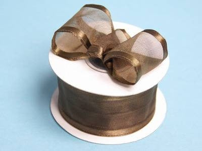 "10 Yards 1.5"" DIY Chocolate Organza Ribbon With Wired Edged For Craft Dress Wedding"