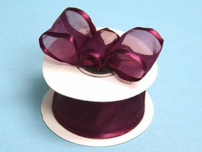 "10 Yards 1.5"" DIY Eggplant Organza Ribbon With Wired Edged For Craft Dress Wedding"