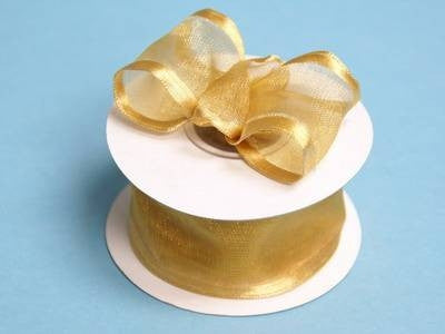 "10 Yards 1.5"" DIY Gold Organza Ribbon With Wired Edged For Craft Dress Wedding"
