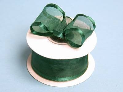 "10 Yards 1.5"" DIY Hunter Green Organza Ribbon With Wired Edged For Craft Dress Wedding"