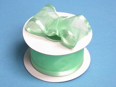 "10 Yards 1.5"" DIY Mint Organza Ribbon With Wired Edged For Craft Dress Wedding"