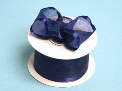 "10 Yards 1.5"" DIY Navy Blue Organza Ribbon With Wired Edged For Craft Dress Wedding"