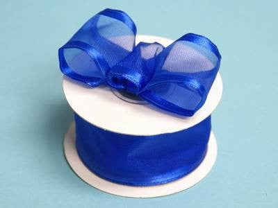 "10 Yards 1.5"" DIY Royal Blue Organza Ribbon With Wired Edged For Craft Dress Wedding"