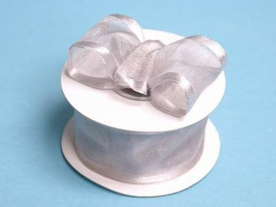 "10 Yards 1.5"" DIY Silver Organza Ribbon With Wired Edged For Craft Dress Wedding"
