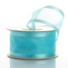 "1.5"" x 10 Yards Organza Ribbon With Wired Edge - Turquoise"