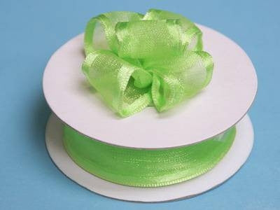 "7/8""x10yd Wired Organza Ribbon - Apple Green"