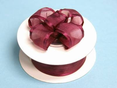 "7/8""x10yd Wired Organza Ribbon - Burgundy"