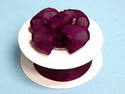 "7/8""x10yd Wired Organza Ribbon - Eggplant"