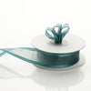 "7/8"" x 10 Yards Organza Ribbon With Wired Edge - Hunter Green"