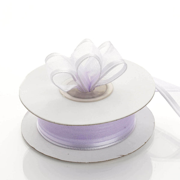 "7/8"" x 10 Yards Organza Ribbon With Wired Edge - Lavender"
