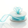 "7/8"" x 10 Yards Organza Ribbon With Wired Edge - Turquoise"