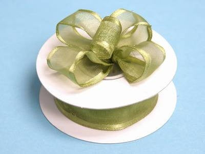 "7/8""x10yd Wired Organza Ribbon - Willow Green"