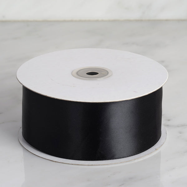 "2"" x 50 Yards Solid Satin Ribbon - Black"