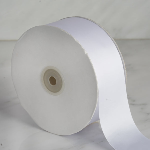 "2"" x 50 Yards Solid Satin Ribbon - White"