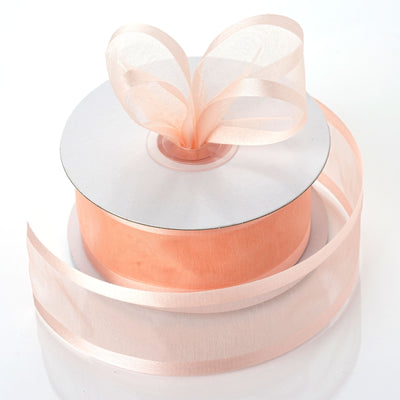 "1.5"" Peach Satin Edge Ribbon - 25 Yards"