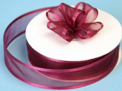 "7/8"" Satin Edge Organza-Burgundy"