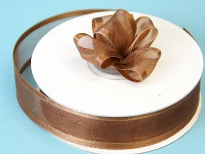 "7/8"" Satin Edge Organza-Chocolate"