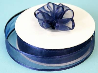 "7/8"" Satin Edge Organza-Navy Blue"