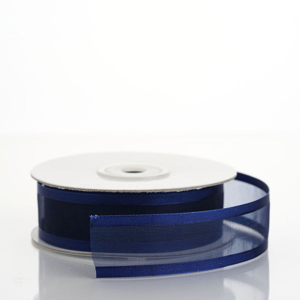 "7/8"" x 25 Yards Organza Ribbon With Satin Edge - Navy Blue"