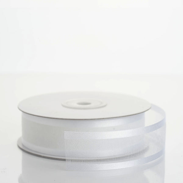 "7/8"" x 25 Yards Organza Ribbon With Satin Edge - White"