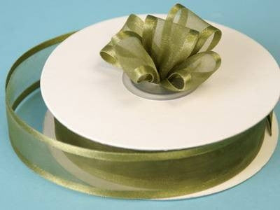 "7/8"" Satin Edge Organza - Moss / Willow"