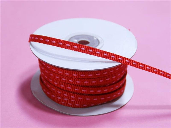 "1/4"" x 25 Yards Stitched Ribbon - Red"